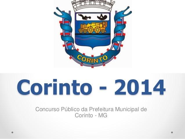 Corinto - 2014  Concurso Público da Prefeitura Municipal de  Corinto - MG