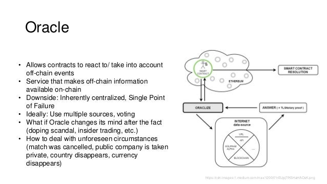 Oracle • Allows contracts to react to/ take into account off-chain events • Service that makes off-chain information avail...