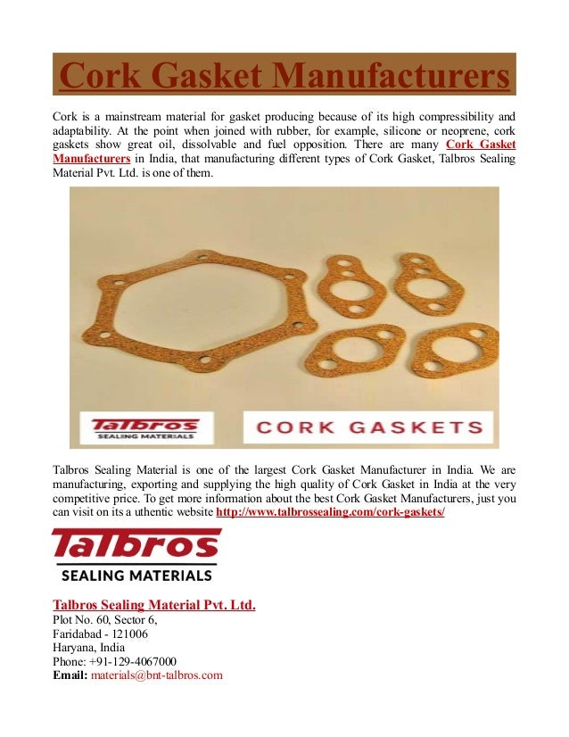 Cork Gasket Manufacturers