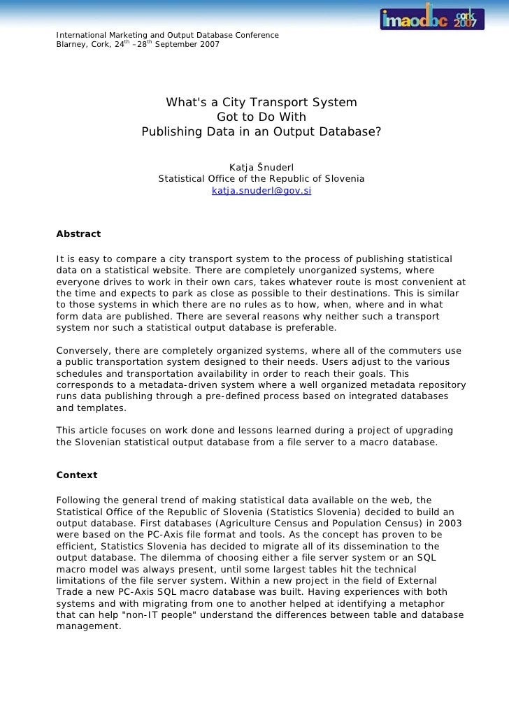 International Marketing and Output Database Conference Blarney, Cork, 24th –28th September 2007                           ...