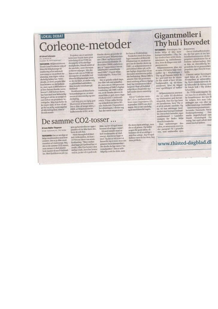 "17.11.2009, Jens Møller Thygesen: ""Corleone meDe samme CO2-tosser..."", Thisted Dagblad"