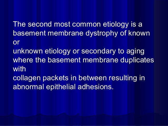 The second most common etiology is a basement membrane dystrophy of known or unknown etiology or secondary to aging where ...