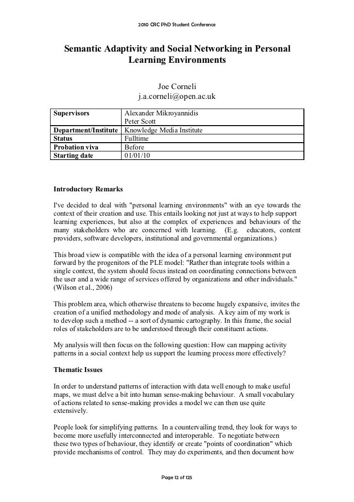 2010 CRC PhD Student Conference       Semantic Adaptivity and Social Networking in Personal                  Learning Envi...
