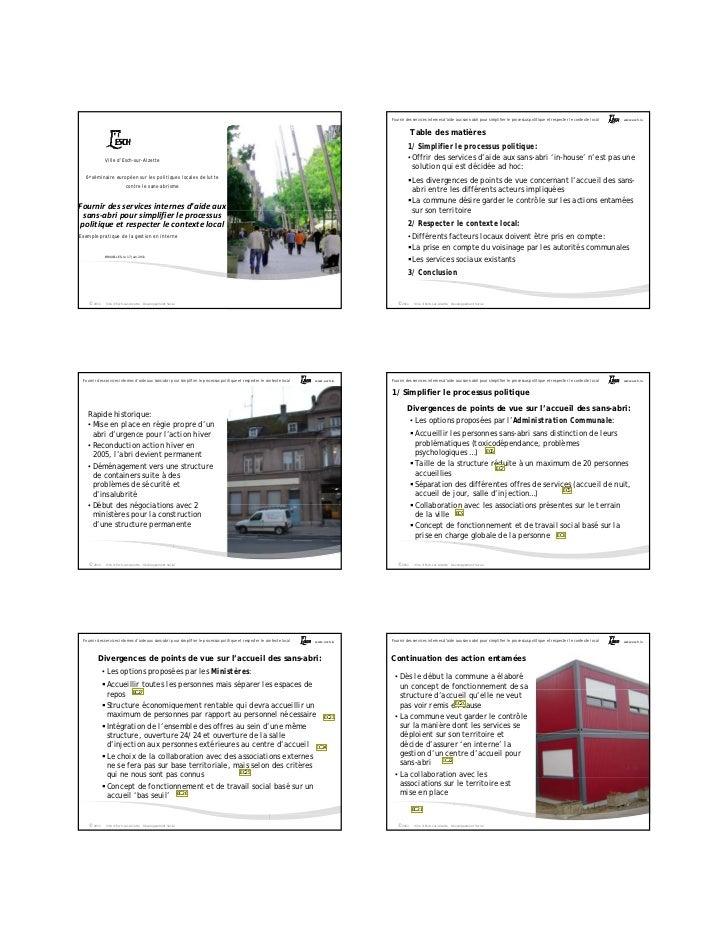 Fournir des services internes d'aide aux sans-abri pour simplifier le processus politique et respecter le contexte local  ...