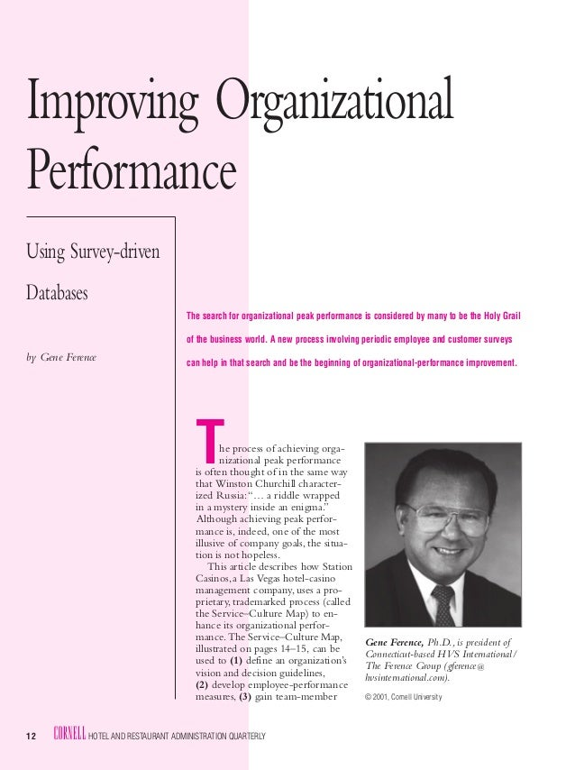 Improving OrganizationalPerformanceUsing Survey-drivenDatabases                                      The search for organi...
