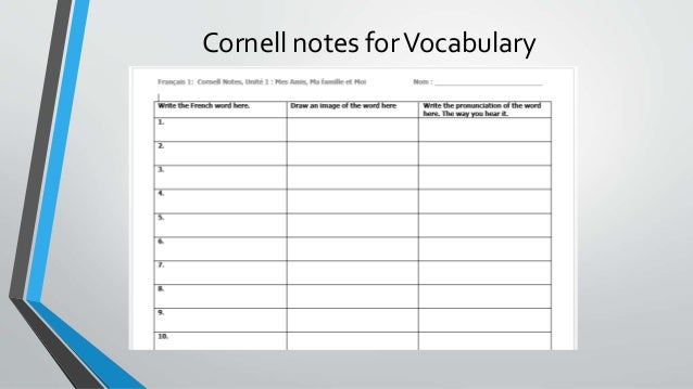 Cornell Notes In The World Language Classroom