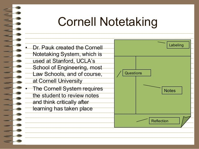 cornell method of note taking pdf