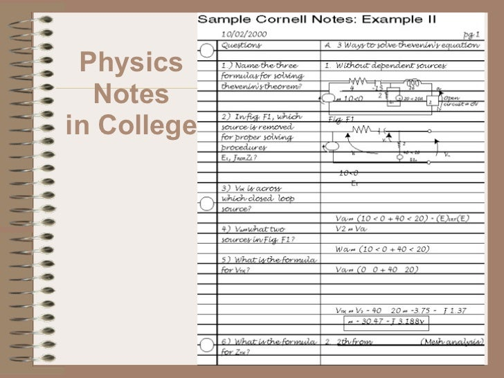 Cornell Power Point Notetaking