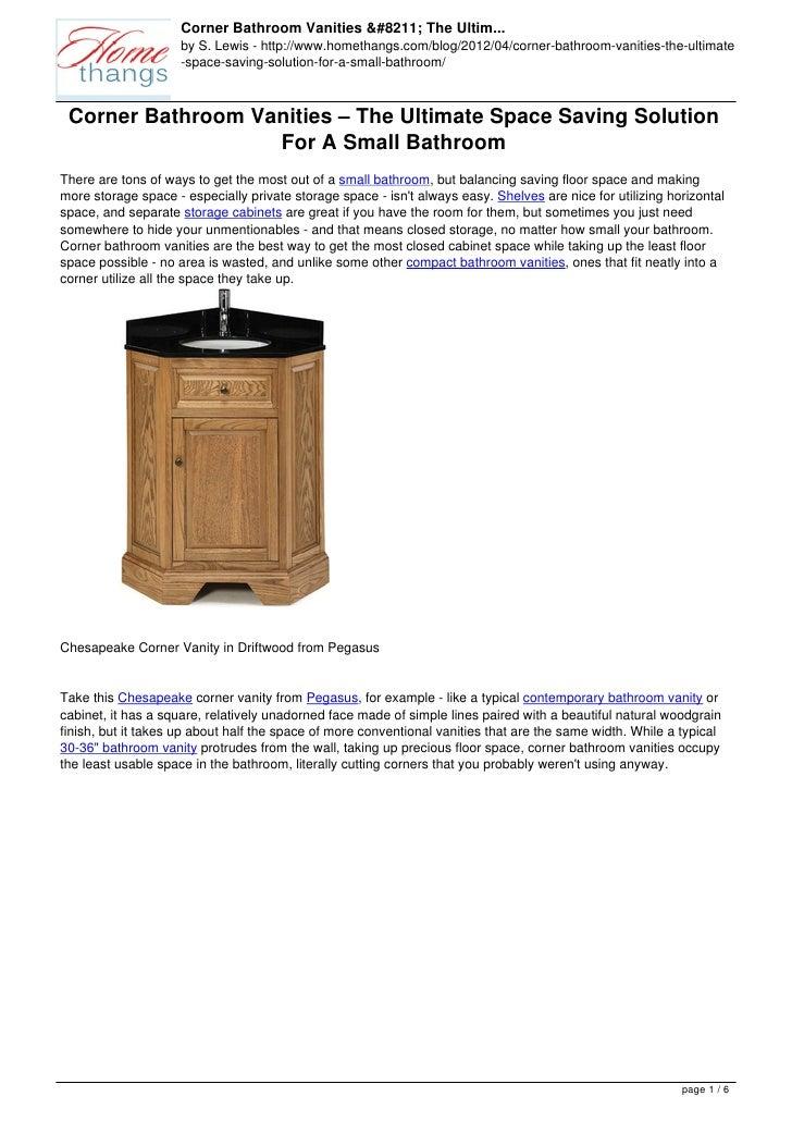 Corner Bathroom Vanities – The Ultim...                     by S. Lewis - http://www.homethangs.com/blog/2012/04/corner-ba...