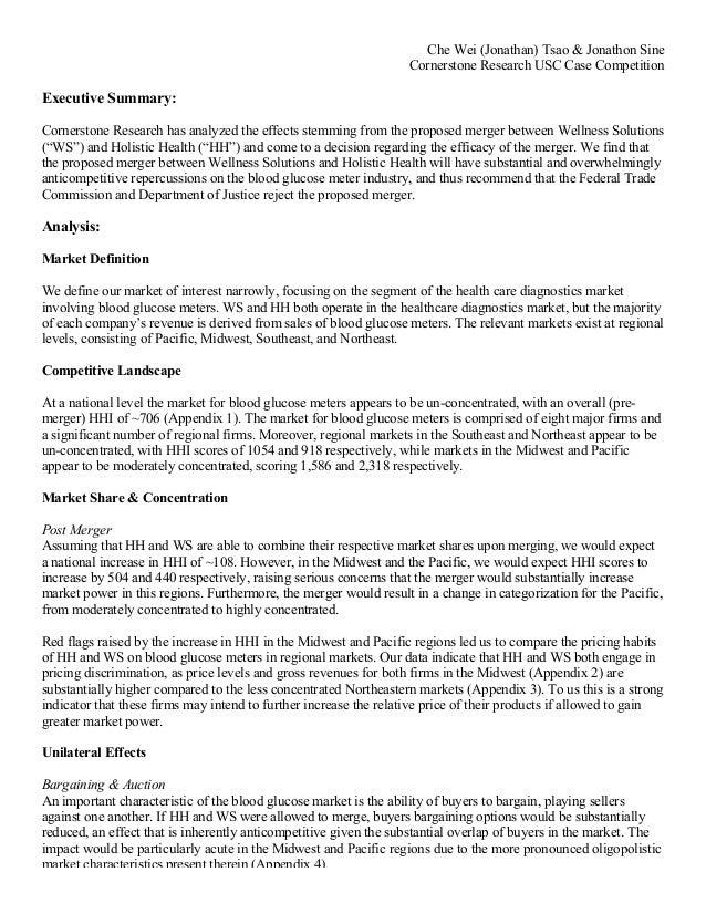 che wei jonathan tsao jonathon sine cornerstone research usc case competition executive summary