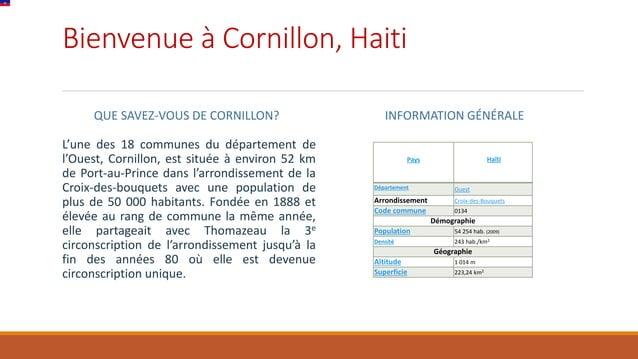 Bienvenue à Cornillon, Haiti QUE SAVEZ-VOUS DE CORNILLON? L'une des 18 communes du département de l'Ouest, Cornillon, est ...