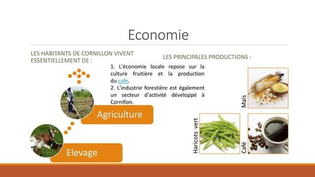 Economie LES HABITANTS DE CORNILLON VIVENT ESSENTIELLEMENT DE : LES PRINCIPALES PRODUCTIONS : Haricotsvert CaféMaïs Elevag...