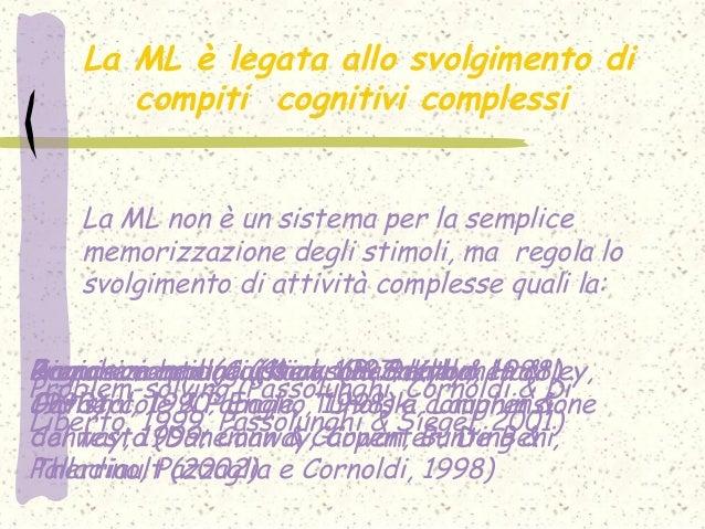 La ML è legata allo svolgimento di compiti cognitivi complessi La ML non è un sistema per la semplice memorizzazione degli...