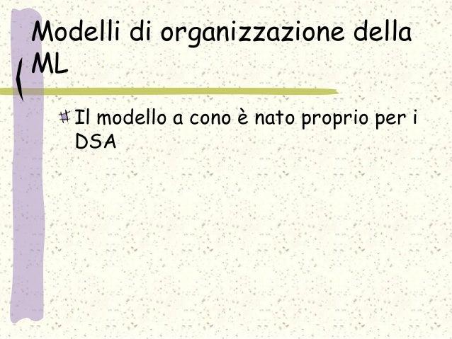 Modelli di organizzazione della ML Il modello a cono è nato proprio per i DSA