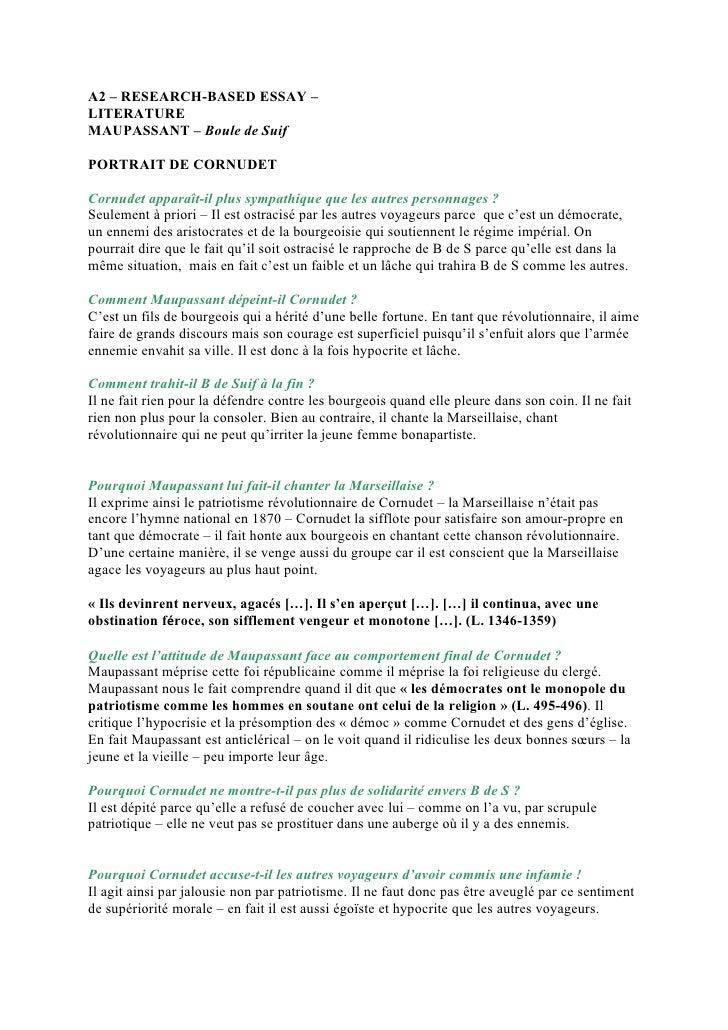 A2 – RESEARCH-BASED ESSAY – LITERATURE MAUPASSANT – Boule de Suif  PORTRAIT DE CORNUDET  Cornudet apparaît-il plus sympath...
