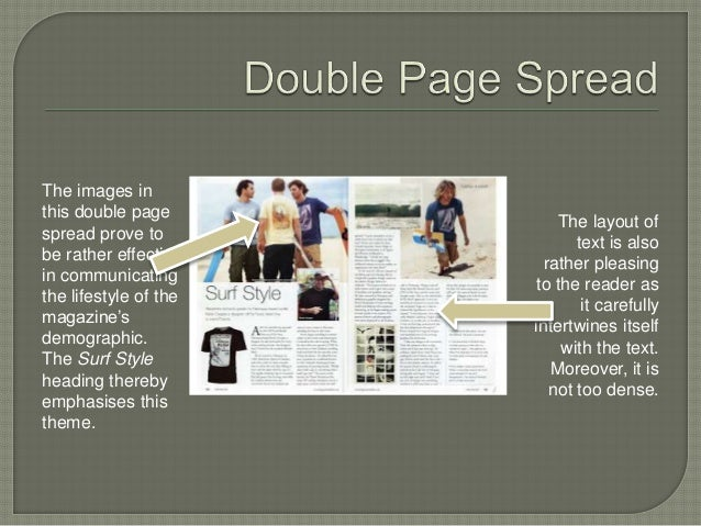 The images in  this double page  spread prove to  be rather effective  in communicating  the lifestyle of the  magazine's ...