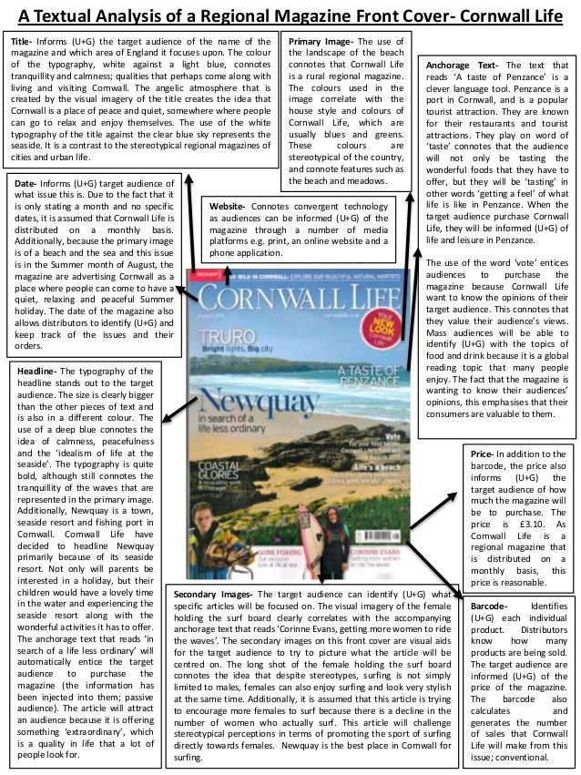A Textual Analysis of a Regional Magazine Front Cover- Cornwall Life Title- Informs (U+G) the target audience of the name ...
