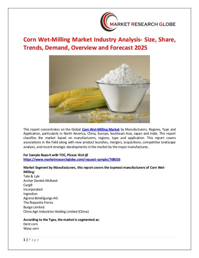 Corn wet milling market industry analysis- size, share