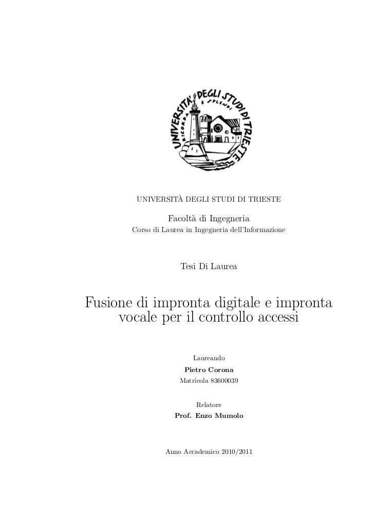 `        UNIVERSITA DEGLI STUDI DI TRIESTE                  Facolt` di Ingegneria                        a       Corso di ...