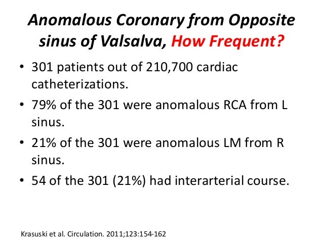 Anomalous Coronary from Opposite sinus of Valsalva, How Frequent? • 301 patients out of 210,700 cardiac catheterizations. ...