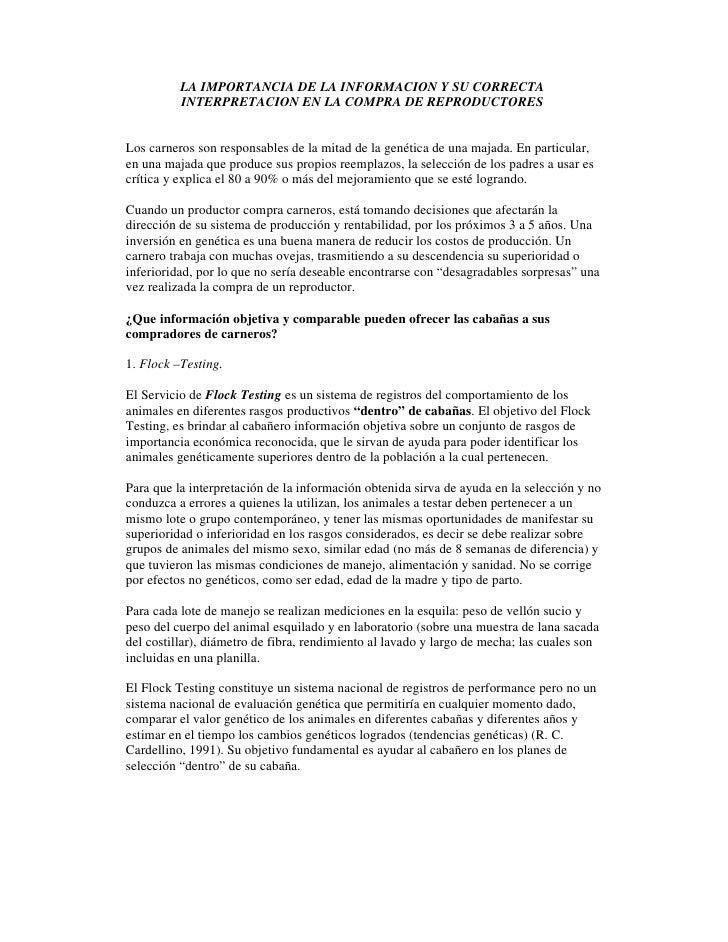 LA IMPORTANCIA DE LA INFORMACION Y SU CORRECTA           INTERPRETACION EN LA COMPRA DE REPRODUCTORES   Los carneros son r...