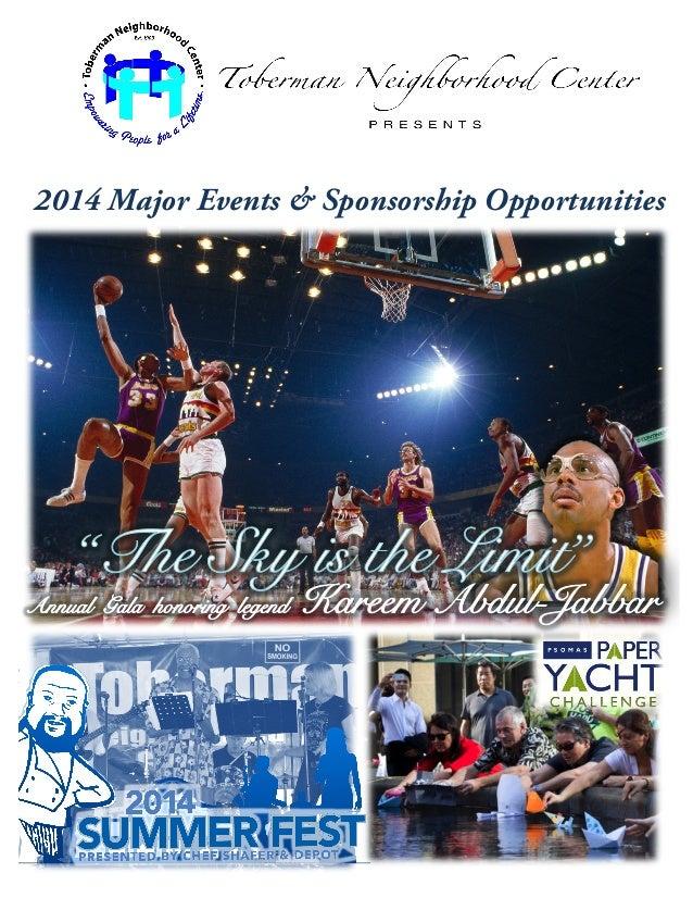 2014 Major Events & Sponsorship Opportunities