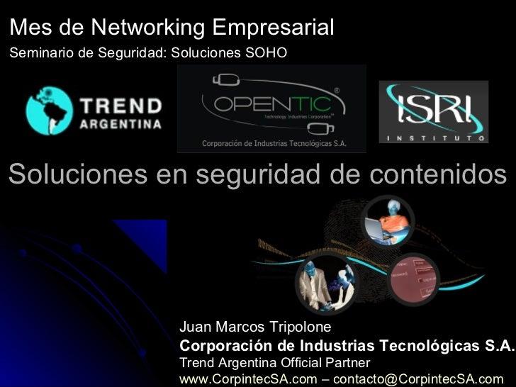 Mes de Networking EmpresarialSeminario de Seguridad: Soluciones SOHOSoluciones en seguridad de contenidos                 ...