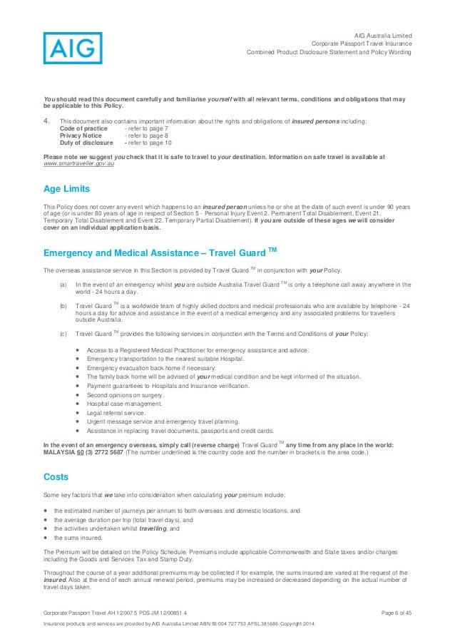 Aig Australia Travel Insurance