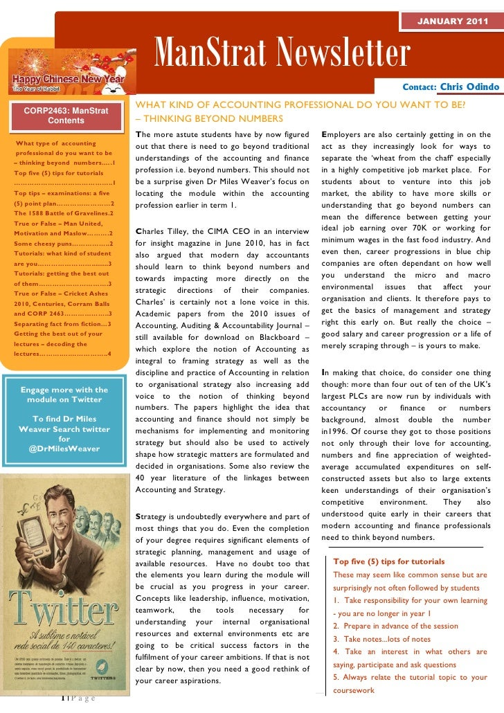 Management and Strategy newsletter for DMU