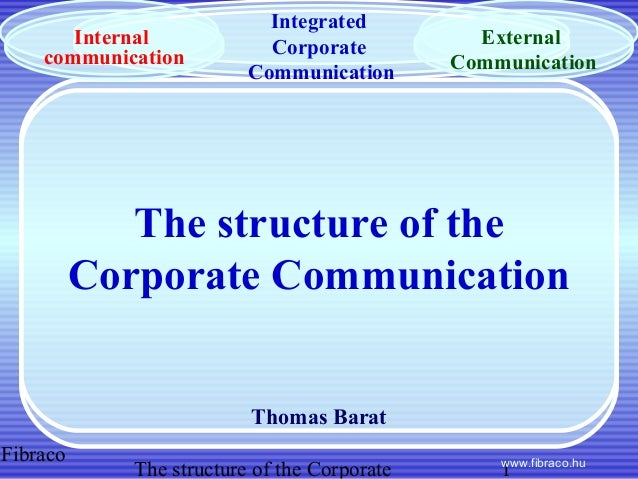 Fibraco The structure of the Corporate 1www.fibraco.hu The structure of the Corporate Communication Thomas Barat Integrate...