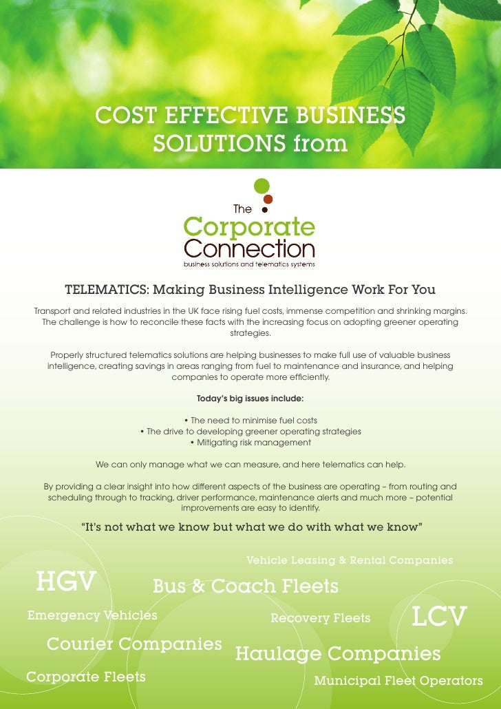 COST EFFECTIVE BUSINESS                    SOLUTIONS from        TELEMATICS: Making Business Intelligence Work For You Tra...