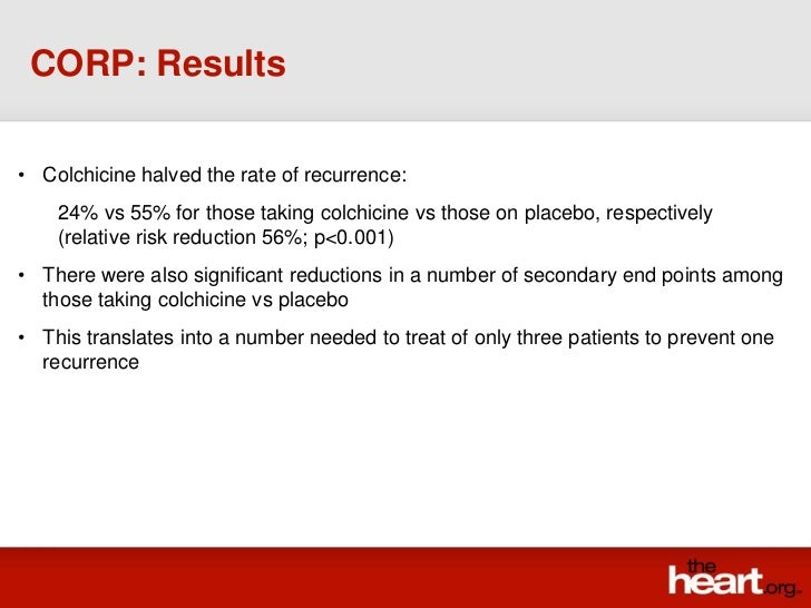 CORP: Results• Colchicine halved the rate of recurrence:    24% vs 55% for those taking colchicine vs those on placebo, re...