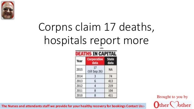 Corpns claim 17 deaths, hospitals report more Brought to you by The Nurses and attendants staff we provide for your health...