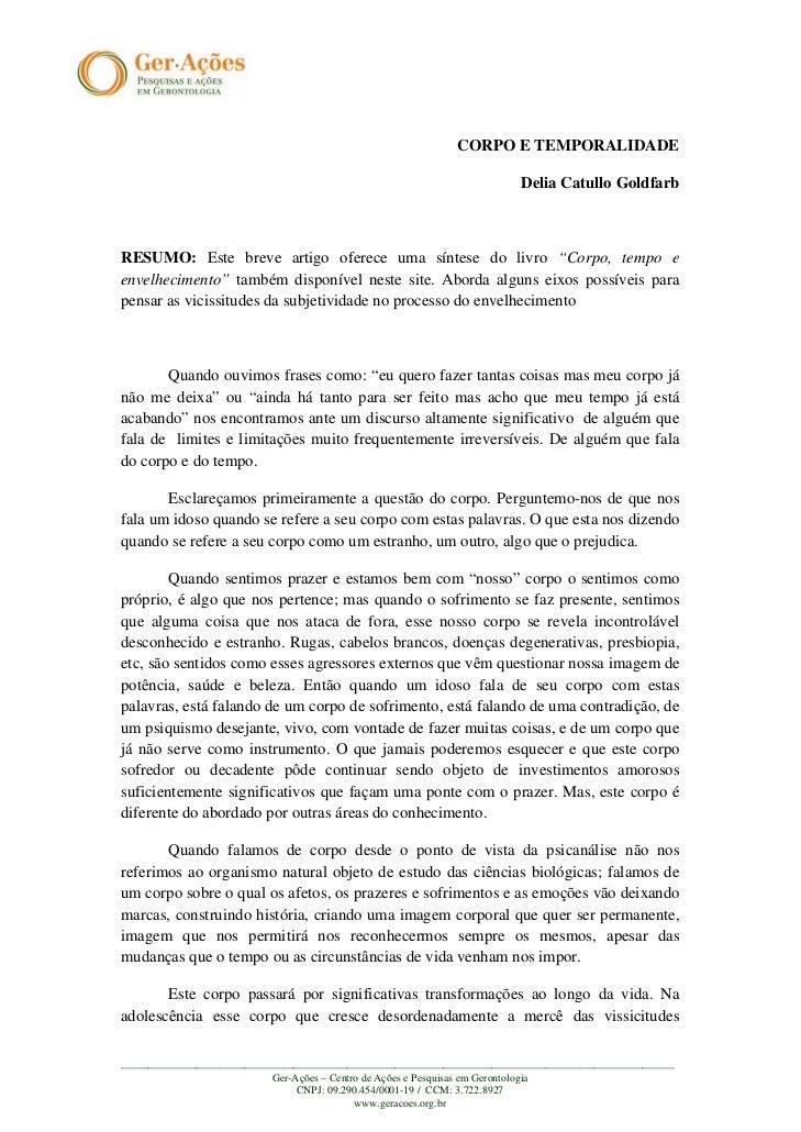 CORPO E TEMPORALIDADE                                                                          Delia Catullo GoldfarbRESUM...