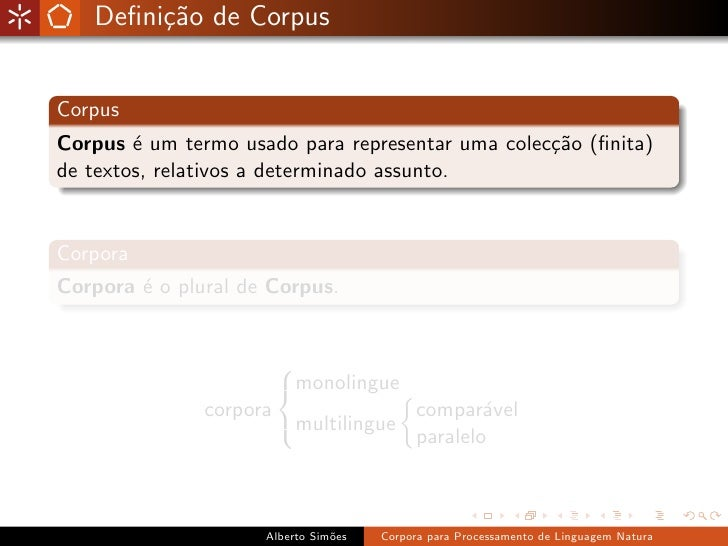 Corpora para Processamento de Linguagem Natural Slide 2