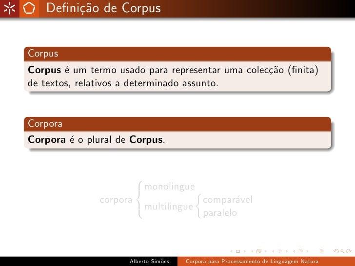 Corpora para Processamento de Linguagem Natural Slide 3