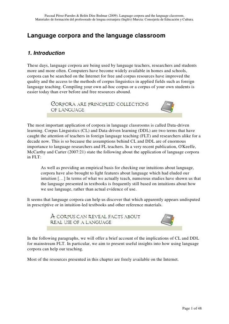 Pascual Pérez-Paredes & Belén Díez Bedmar (2009). Language corpora and the language classroom.     Materiales de formación...