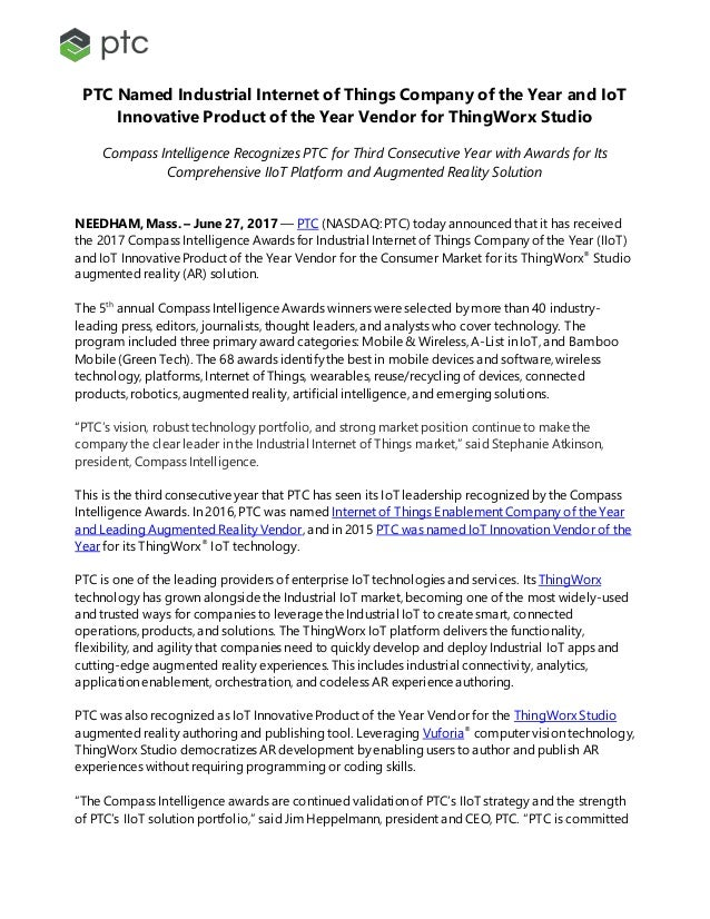 PTC Named Industrial Internet of Things Company of the Year and IoT Innovative Product of the Year Vendor for ThingWorx St...