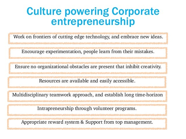 concept of corporate entrepreneurship What is corporate entrepreneurship corporate entrepreneurship is the term  used to describe entrepreneurial behaviour in an established, larger organisation.