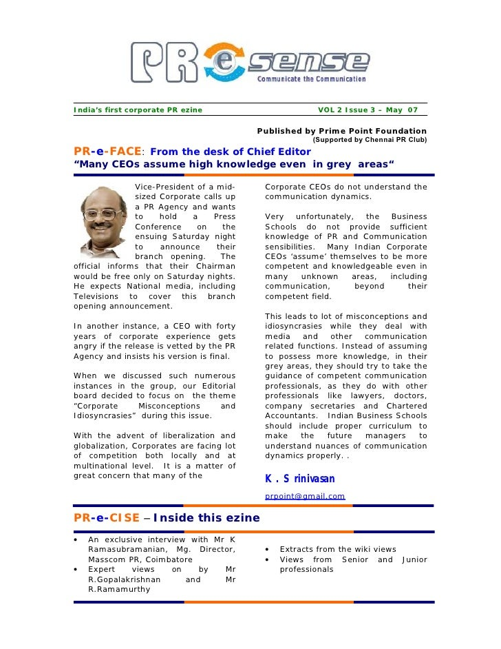 India's first corporate PR ezine                        VOL 2 Issue 3 – May 07                                            ...