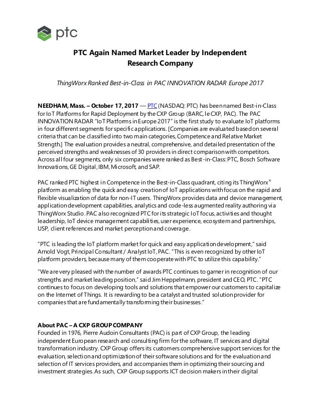 PTC Again Named Market Leader by Independent Research Company ThingWorx Ranked Best-in-Class in PAC INNOVATION RADAR Europ...