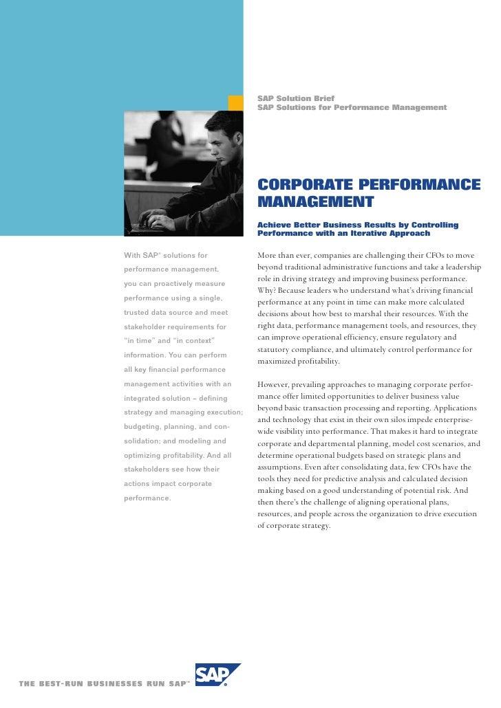 SAP Solution Brief                                     SAP Solutions for Performance Management                           ...