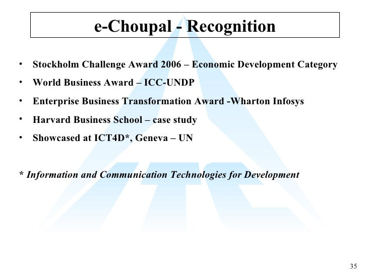 e choupal case study harvard Itc e-choupal analysis uploaded by mohit_rawat  harvard business school, who flew down to india to write this case study for his students, this is a supply .