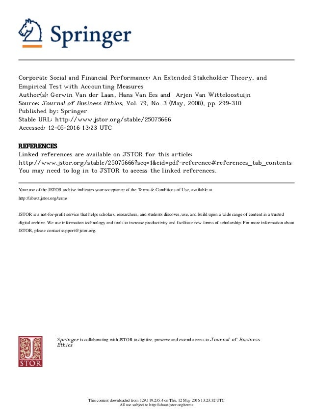 Corporate Social and Financial Performance: An Extended Stakeholder Theory, and Empirical Test with Accounting Measures Au...