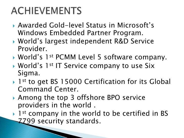    Awarded Gold-level Status in Microsoft's    Windows Embedded Partner Program.   World's largest independent R&D Servi...