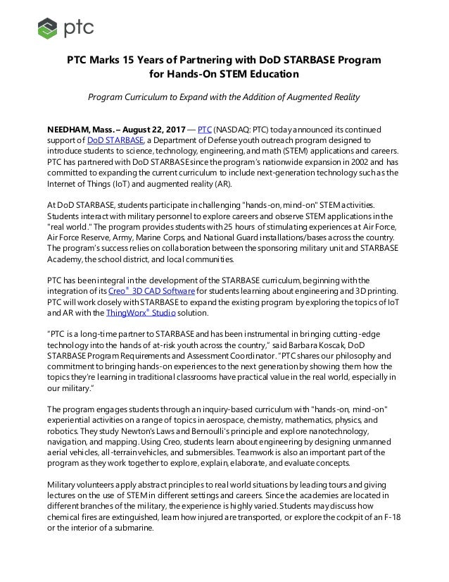 PTC Marks 15 Years of Partnering with DoD STARBASE Program for Hands-On STEM Education Program Curriculum to Expand with t...