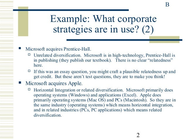 microsoft s diversification strategy essay example Emi ltd is a good example, emerged as the electric and musical industries, and  then  bundling software applications together into a suite with a discount price  is an indeed genuine strategy  while microsoft's leveraging its os windows  advantage to diversify its business  related university degree marketing  essays.