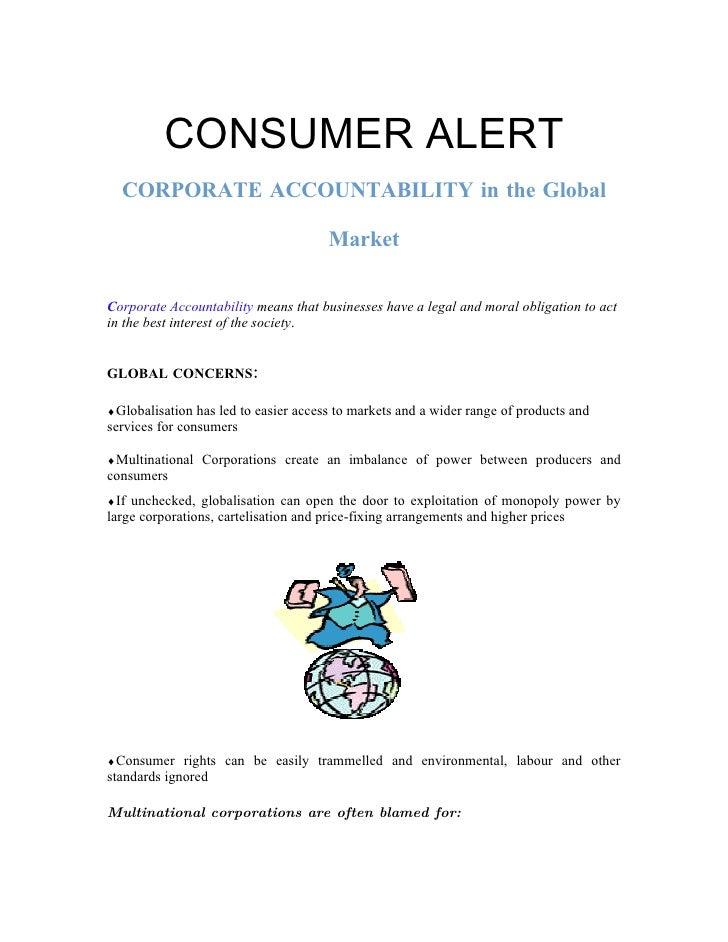 CONSUMER ALERT   CORPORATE ACCOUNTABILITY in the Global                                         Market  Corporate Accounta...
