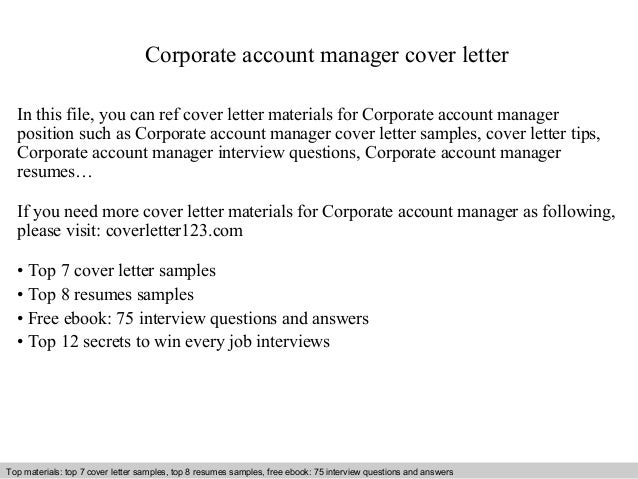 Corporate Account Manager Cover Letter In This File, You Can Ref Cover  Letter Materials For ...