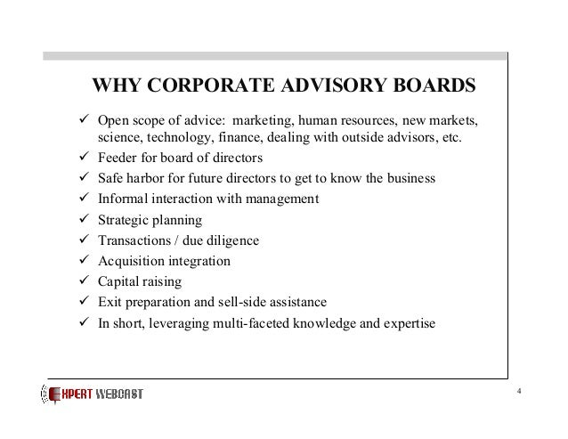 Corporate Advisory Boards Their Role And Value